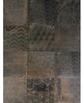 Carrelage patchwork imitation métal foncé 20x20cm rectifié, R10, santoxydart dark