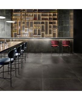 Carrelage imitation métal noir, restaurant, 90x90cm rectifié,  santoxydart noir