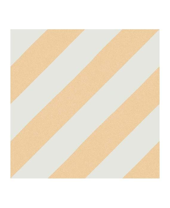 Carrelage imitation carreaux de ciment bande diagonal V Goroka ocre 20x20 cm