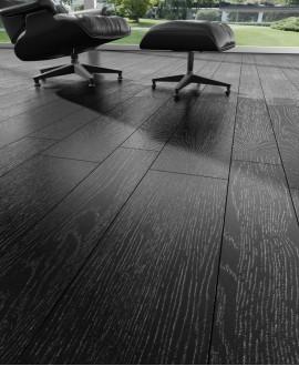 Carrelage imitation parquet noir pur sans noeud moderne, sol et mur, 14.4x89.3cm rectifié, V arhus noir