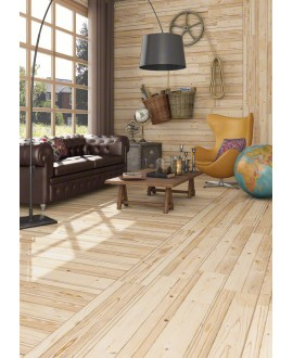 Carrelage imitation parquet pin aspect bois brut, sol et mur, 19.2x119.3cm rectifié, V frémont naturel