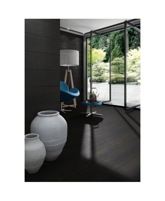 Carrelage imitation parquet noir, salon,19.2x119.3cm rectifié, V okinawa carbon
