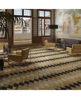 Carrelage imitation marqueterie bois, losange, décor, 4 couleurs, sol et mur 22x28cm, V adamant2