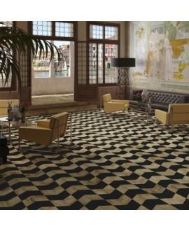 Carrelage imitation marqueterie bois décoré, losange 22x28cm, noir et chêne, sol et mur V adamant3