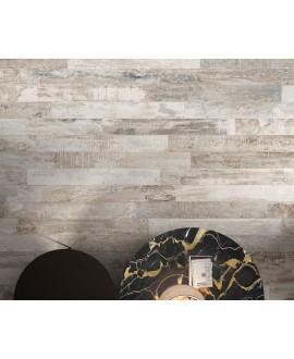 Carrelage imitation parquet peint dénuancé couleur claires usées, gris, beige et blanc, 15x120cm, rectifié, Santacolor light