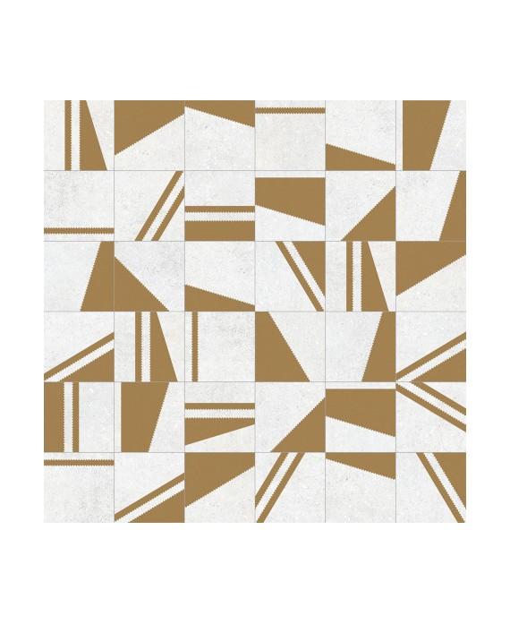 Carrelage imitation carreau ciment blanc or, 20x20 cm, V Kokomo blanco oro