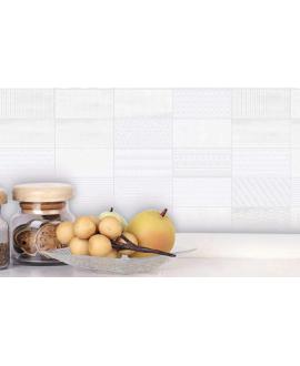 Carrelage D blanc relief patchwork 7.5x15cm