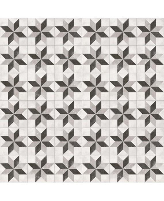 Carrelage imitation carreau de ciment étoile classique 20x20 cm V pukao taito blanco