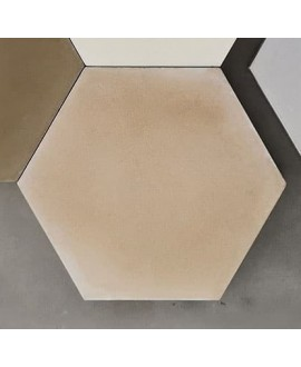 Carreau ciment véritable uni beige hexagone 20x17.4x1.6cm