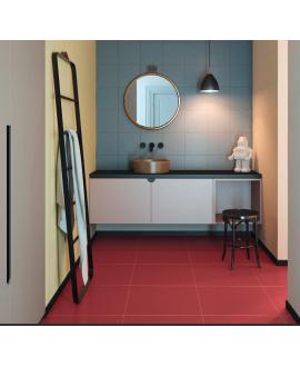 grapcolor rouge GP016 rectifié 50x50cm et GP029 25x25cm au mur