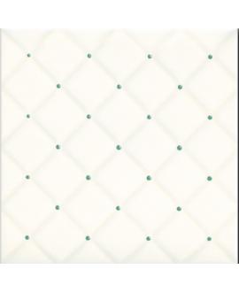 Carrelage D matelassé ivoire brillant point vert 20x20x0.6cm