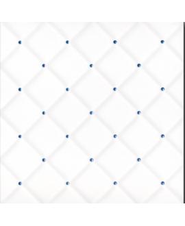 Carrelage D matelassé blanc brillant point bleu 20x20x0.6cm