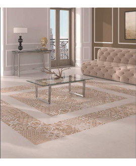 Carrelage D patchwork divintage beige imitation carreau ciment traditionnel 25x25x0.9cm
