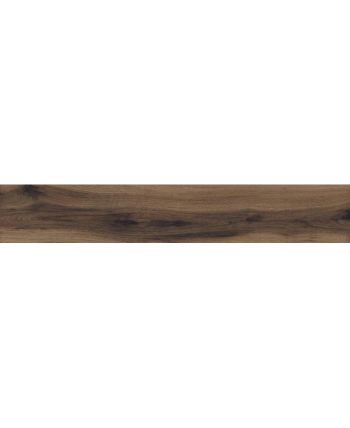 Carrelage imitation parquet marron grandes longueurs, 30x180cm, rectifié, santabwood burnt