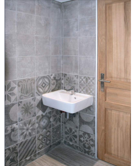 Carrelage D patchwork disignum grey imitation carreau ciment 25x25x0.9cm