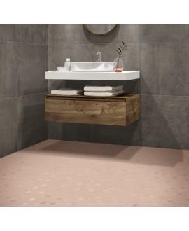 Mosaique hexagonale rose mat salle de bain cuisine sol et mur, mini tomette , 4.3x3.8cm sur trame 31.6x31.6cm terrarosy