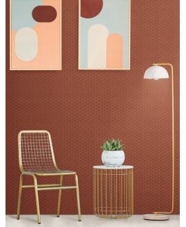 Mosaique hexagonale en grès cérame terrarusty mat  rouge foncé 4.3x3.8cm sur trame 31.6x31.6cm