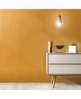 Mosaique hexagonale en grès cérame jaune mat sol et mur mini tomette 4.3x3.8cm sur trame 31.6x31.6cm terrayellow