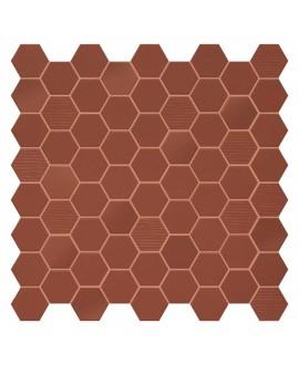 Mosaique hexagone en grès cérame terrarusty mat mix rouge foncé 4.3x3.8cm sur trame 31.6x31.6cm