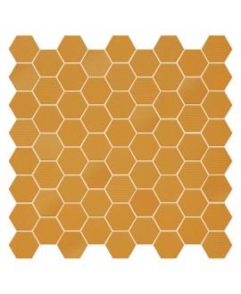 Mosaique hexagone en grès cérame terrayellow mat mix jaune 4.3x3.8cm sur trame 31.6x31.6cm