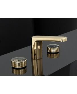 Mélangeur lavabo 3 trous doré F5601HOR+C25N