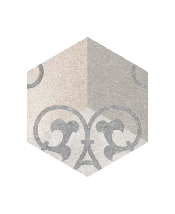 carrelage hexagone bushmills multicolor effet carreau ciment 23x26.6 cm