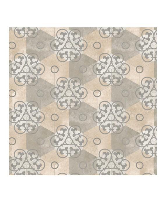 Carrelage imitation carreau de ciment hexagone mat décoré 23x26.6 cm V kunashir multicolor
