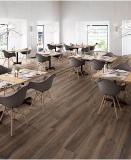 Carrelage imitation parquet moderne marron grandes longueurs, restaurant, 30x180cm, rectifié, santabwood burnt