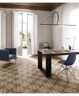 Carrelage imitation marqueterie de bois incrusté, carré, sol et mur, 20x20cm rectifié, santintarsi classic 01, R10