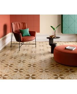 Carrelage imitation marqueterie bois incrusté, décor, sol et mur 20x20cm rectifié, santintarsi classic 05, R10