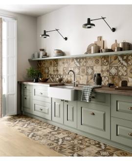 Carrelage cuisine, patchwork, imitation bois incrusté, 20x20cm rectifié, santintarsi classic mix, R10