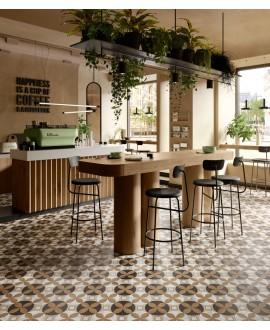 Carrelage cuisine, café, imitation marqueterie bois et marbre incrusté, mur et sol, 20x20cm rectifié, santintarsi elite 01, R10