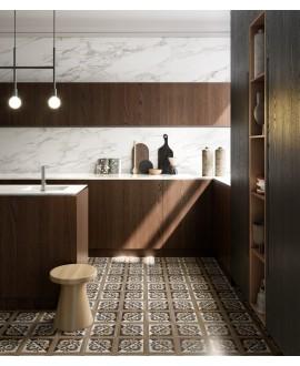 Carrelage cuisine, imitation bois et marbre incrusté, 20x20cm rectifié, santintarsi elite 02, R10