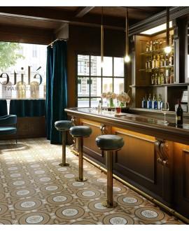 Carrelage bar, cusine, imitation bois et marbre incrusté, 20x20cm rectifié, santintarsi elite 03, R10