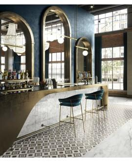 Carrelage effet parqueterie bois foncé et marbre incrusté, sol et mur, 20x20cm rectifié, santintarsi glam 02, R10