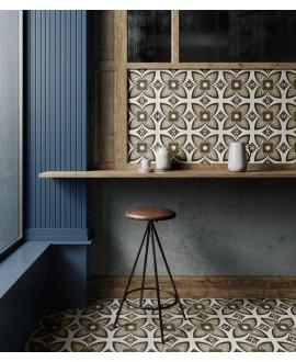 Carrelage imitation bois gris et marbre blanc incrusté, sol et mur 20x20cm, rectifié, santintarsi glam 03, R10