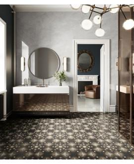 Carrelage salle de bain, imitation bois et marbre incrusté, 20x20cm rectifié, santintarsi glam 04, R10