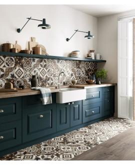 Carrelage cuisine, imitation bois et marbre incrusté 20x20cm rectifié, santintarsi glam mix