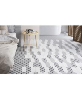 Carrelage losange, navette blanc et décor mat 10x30cm, equipecentury grey