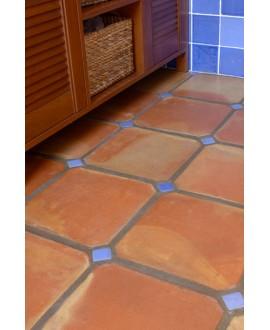 Carrelage en terre cuite fait main octogonal à pans coupés 20x20x2cm avec cabochon 4x4cm