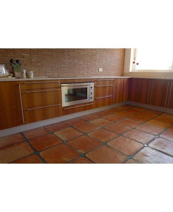 Carrelage en terre cuite fait main octogonal à pans coupés 30x30x2cm avec cabochon 4x4cm