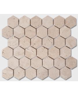 Mosaique D travertin classic hexagone 5cm sur trame 30,5x30,5x1cm