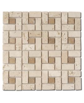 Mosaique D travertin classic noce big labirinthe sur trame 30,5x30,5x1cm