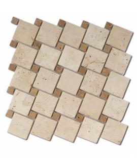 Mosaique D travertin cabochon classic noce sur trame 30,5x30,5x1cm