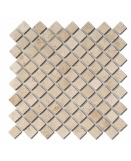 Mosaique D travertin diagonal classic sur trame 30,5x30,5x1cm