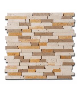 Mosaique D travertin lamelle mix 1.5cm sur trame 30,5x30,5x1cm