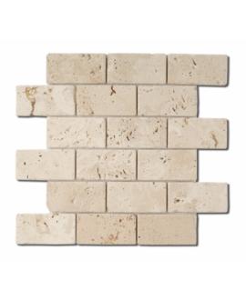 Mosaique D travertin large brique classic 5x10cm sur trame 30,5x30,5x1cm