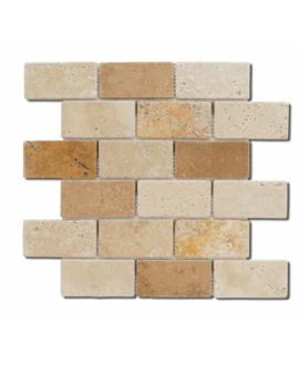 Mosaique D travertin large brique mix 5x10cm sur trame 30,5x30,5x1cm