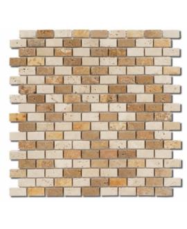 Mosaique D travertin small brique mix 1.5x3cm sur trame 30,5x30,5x1cm
