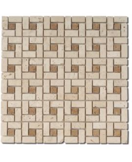 Mosaique D travertin small labyrinthe classic noce sur trame 30,5x30,5x1cm